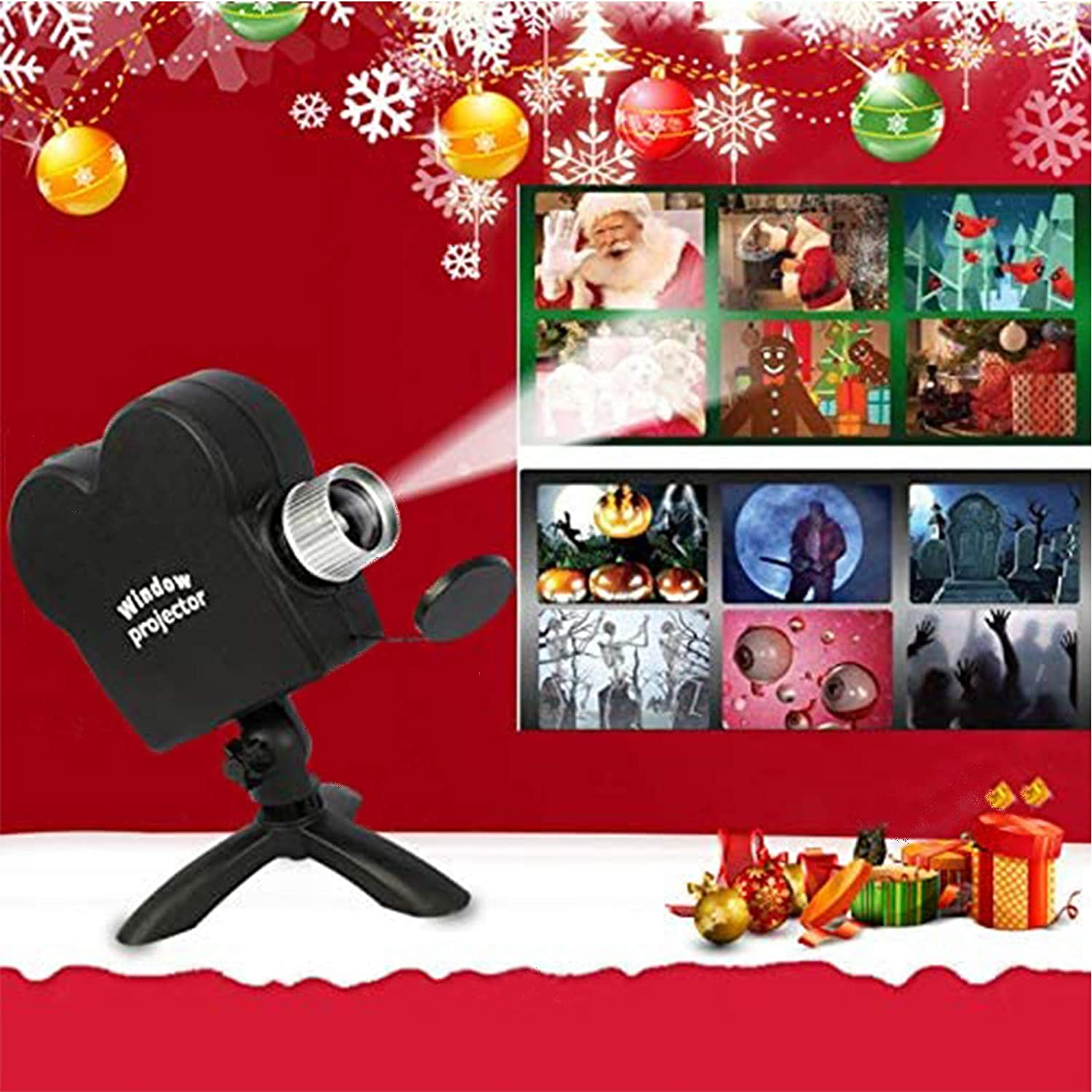 12 Film LED Projection Decoration Spotlights Turn Windows Into Festive Movie Screens for Family Gatherings Halloween Tripod Christmas Projection Lights Halloween Holographic Projection Lights