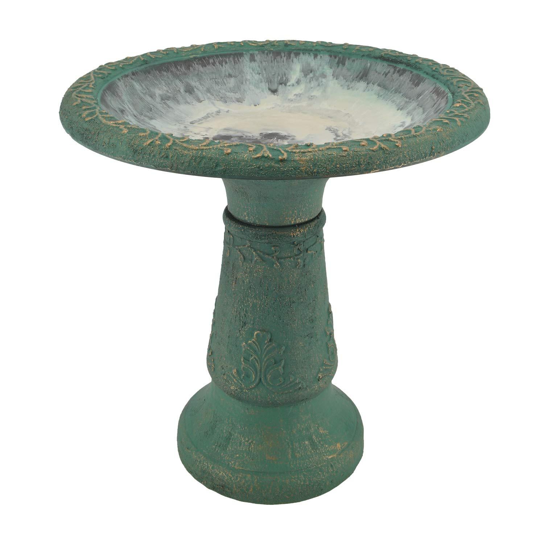 """Arcadia Garden Products BB04 Fiberclay Birdbath, Green, 19.5"""" x 11.5"""" x 20.5"""", 19.5 by 11.5 by 20.5-Inches"""
