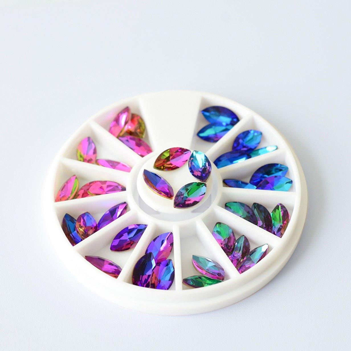 Amazon.com   1 Sets Mix Color Flame Crystal Horse Eyes Acrylic Nail Art  Rhinestone In Wheel 3D Body Phone Decoration DIY Manicure Nails Tools Tips  Kits ... db6d815b0310