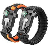 Sahara Sailor 2 Pack Paracord Bracelet Multifunctional Survival Kit with Compass, Flint Fire Starter, Scraper and Whistle for Hiking Camping Emergency More