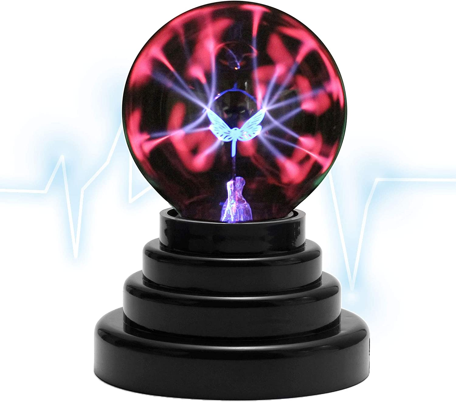Mangsen Butterfly Plasma Ball 3 Inch Magic Touch Sensitive USB Powered Thunder Lightning Glass Sphere for Decorations//Party//Bedroom