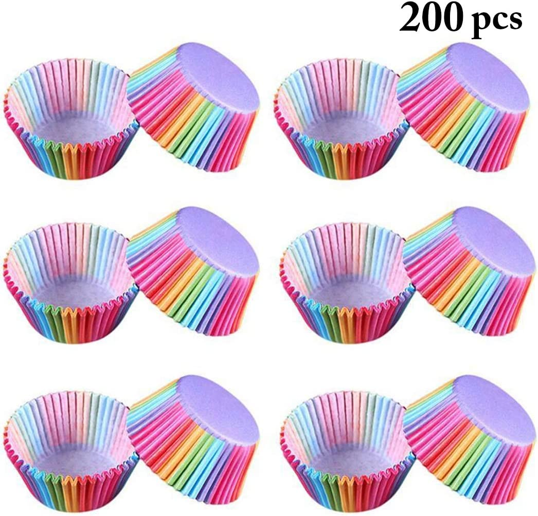 Outgeek 200PCS Baking Cup Creative Cupcake Wrapper Muffin Cup for Cake Balls Assorted Bright Colors Cupcakes and Candies Muffins