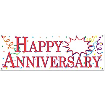 Amazon.com: Beistle 57516 Happy Anniversary Sign Banner, 5-Feet by ...