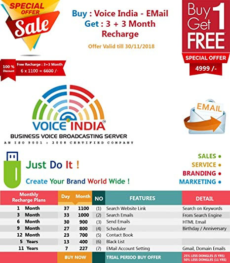 VOICE INDIA ® - EMAIL DONGLE : BULK EMAIL BROADCASTING SOFTWARE
