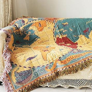 yazi Mapa del Mundo Manta Bohemia Estilo Colgante Mantas Alfombra Toalla de sofá, sillón, para Mujer Chica Viaje Mapa 130 x 180 cm: Amazon.es: Hogar