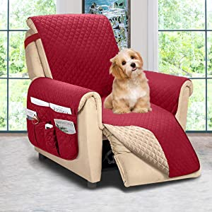 Reversible Recliner Chair Cover, Sofa Covers for Dogs,Sofa Slipcover,Couch Covers for 3 Cushion Couch,Couch Protector(Recliner Oversize:Burgundy/Beige)