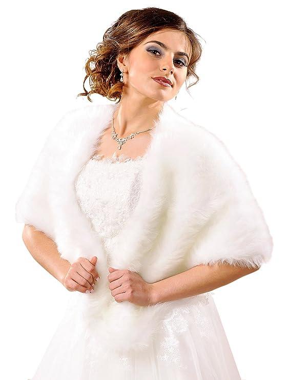 Cape Poncho Umhang Stola Brautstola Brautcape Pelzstola Braut Hochzeit Pelz Fell