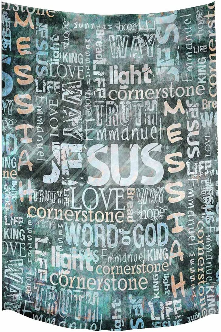 INTERESTPRINT Religious Christian Jesus Quotes Wall Hanging Tapestry Art Home Decorations for Living Room Bedroom Dorm Decor, 60W X 90L Inch