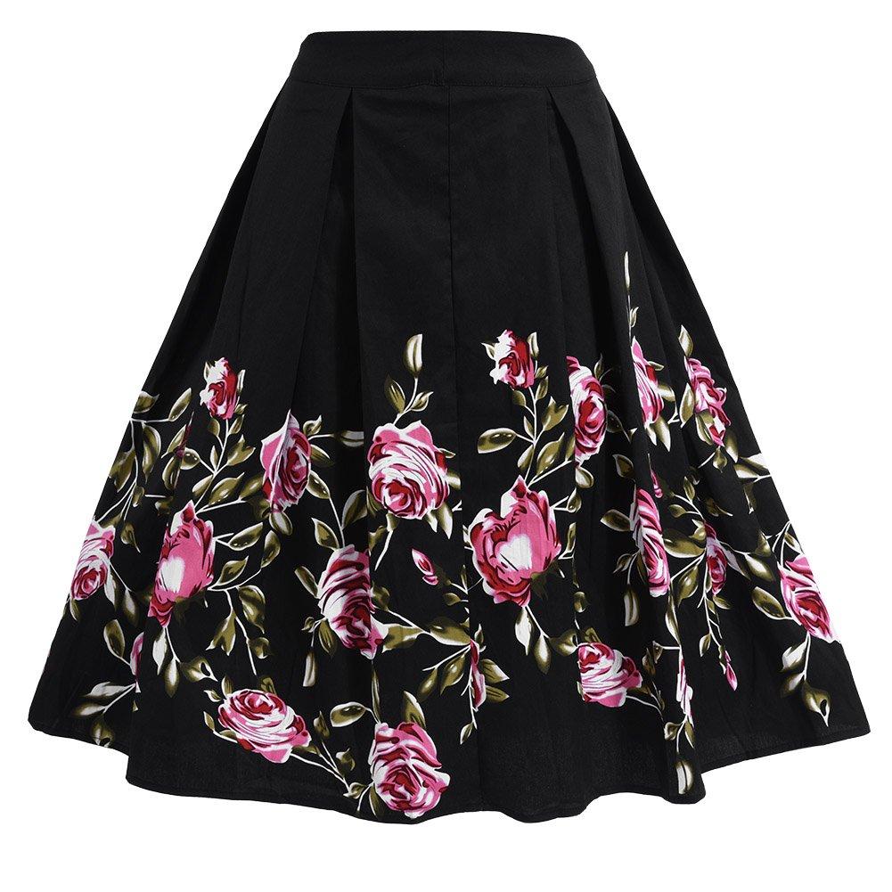 Filfeel Women's Rose Print A-Shaped High Waist Flare Skirt Black Retro Pleated Skirt