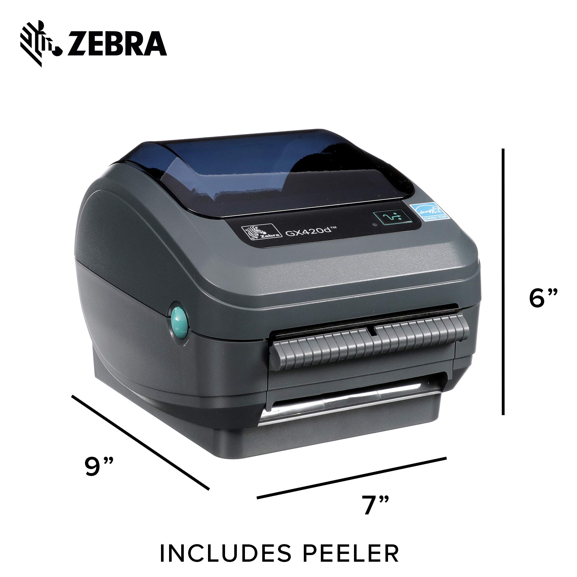 Zebra - GX420d Direct Thermal Desktop Printer for Labels, Receipts, Barcodes, Tags, and Wrist Bands - Print Width of 4 in - USB, Serial, and Parallel Port Connectivity (Includes Peeler) by ZebraNet (Image #6)