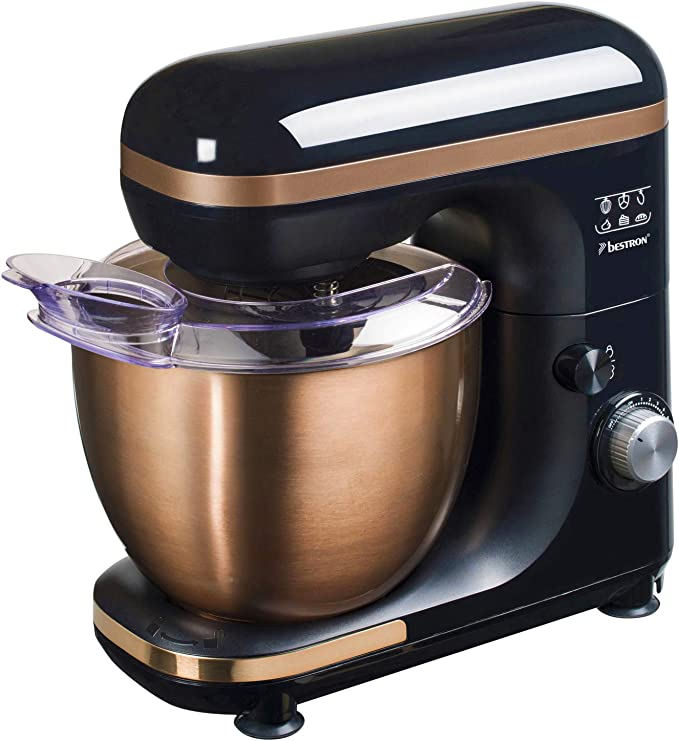 Bestron Copper Collection Robot de Cocina 4 en 1 (Amasa, Bate, Monta y Mezcla), 1000 W, 2.5 litros, Acero Inoxidable: Amazon.es: Hogar