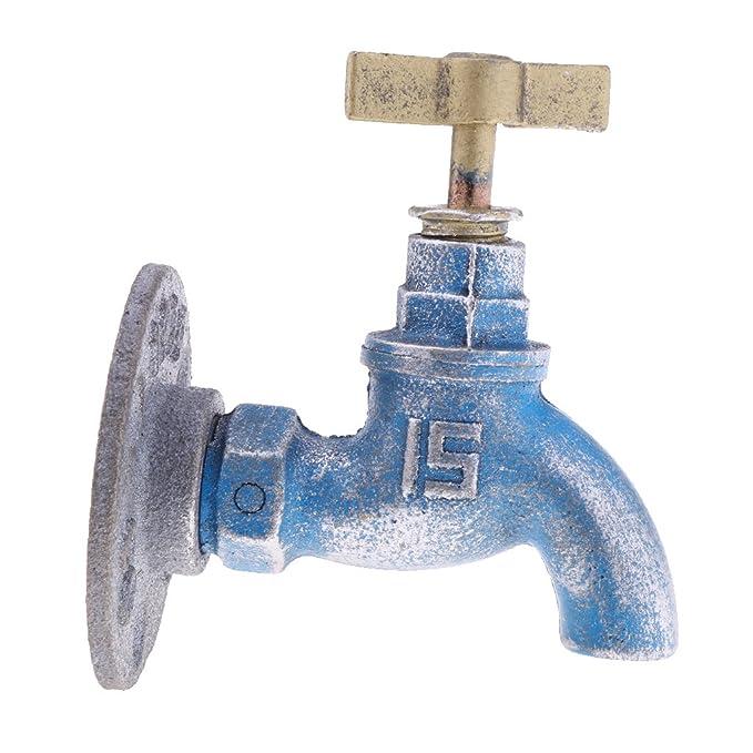 Homyl Gancho de Hierro Diseño Creativo de Grifo de Agua Decoración Antigua de Cocina/Baño - Azul: Amazon.es: Hogar