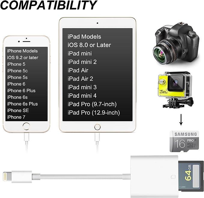 Cable para lector de tarjeta SD para cámara de iPhone, cable ...