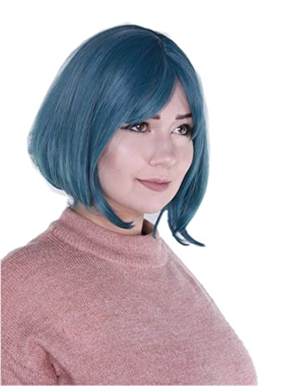 Prettyland C987 - Peluca azul turquesa de color verde liso corto peppy cheeky bobcut peluca corta