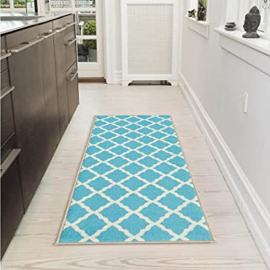 Ottomanson Glamour Collection Contemporary Moroccan Trellis Design Lattice Runner Rug (Non-Slip) Kitchen and Bathroom Mat Rug, 20  X 59 , Blue