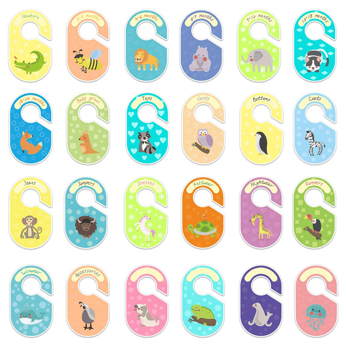 MOBU 24 pcs Baby Closet Dividers Double Side Baby Wardrobe Dividers Baby Shower Gift Arrange Clothes by Clothing Type /& Age Unisex Closet Organisers//Hangers Dividers for Baby Kids Gift Packing