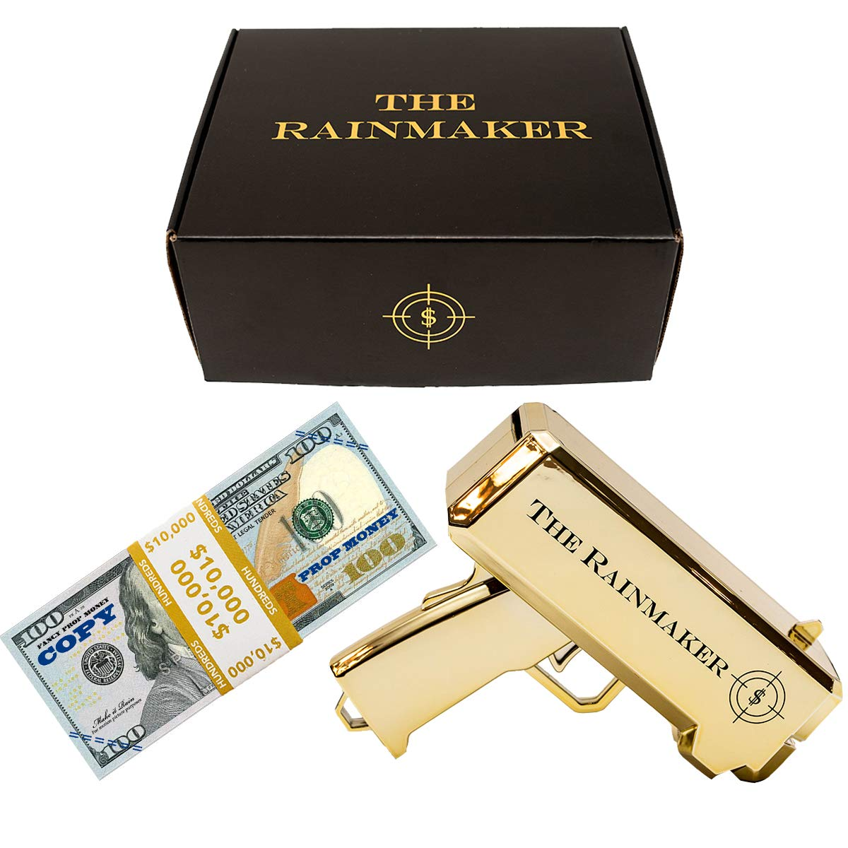 All Out Solutions The Rainmaker Money Gun | $10,000 Prop/Copy Money | Replica Money Looks Real! | Metallic Gold | Impress Your Friends with This Fun Party Toy | Shoot Cash and Make It Rain by All Out Solutions