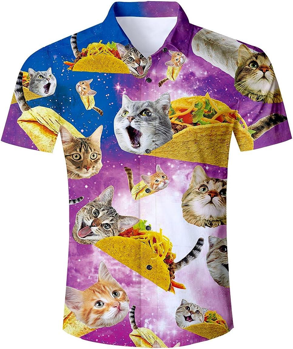 TUONROAD Camisa Hawaiana para Hombre 3D Pi/ña Gato Camisas de Playa Manga Corta Casual Camisas M-XXL