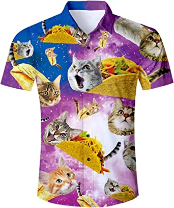 Funny Rea Blue Sky Cat Casual T-Shirt Short Sleeve for Kids