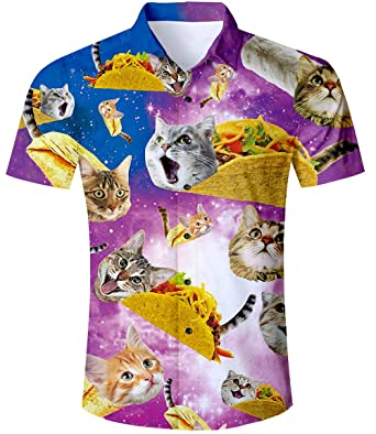 539b87024 TUONROAD Hawaiian Shirt for Men Funny Cat 3D Printed Beach Shirt Short  Sleeve Shit Shirt Mens Button Down Summer Casual Shirts M - XXL:  Amazon.co.uk: ...