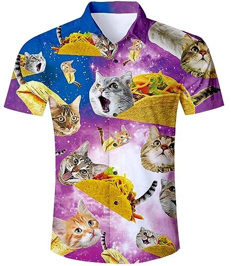 TUONROAD Camisa Hawaiana para Hombre 3D Estampada Funny Piña Gato Palmera Camisas de Playa Galaxia Casual Manga Corta Camisas Verano Camisa del Tema en la Fiesta de Bodas Cumpleaños M-XXL: Amazon.es: Ropa