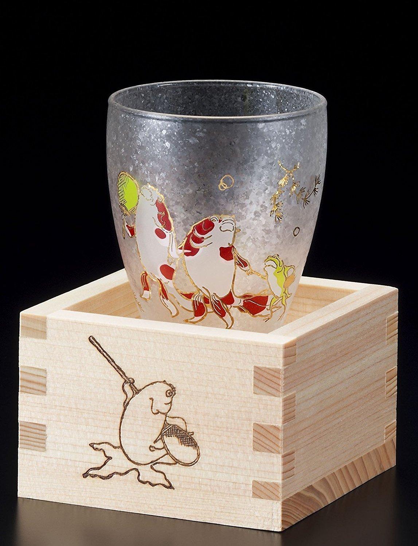 Aderia Japan Edo Neko (cat) MasuZake Glass (Japanese Sake Glass) w/ Masu Box Cute Cats ''Gold Fish'' 6783