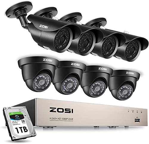 ZOSI 1080P Security Camera System H.265 1080P 8CH HD-TVI Video DVR Recorder with 8PCS 2.0MP Bullet and Dome Weatherproof CCTV Cameras, Motion Alert, Smartphone, PC Remote Access, 1TB Hard Drive