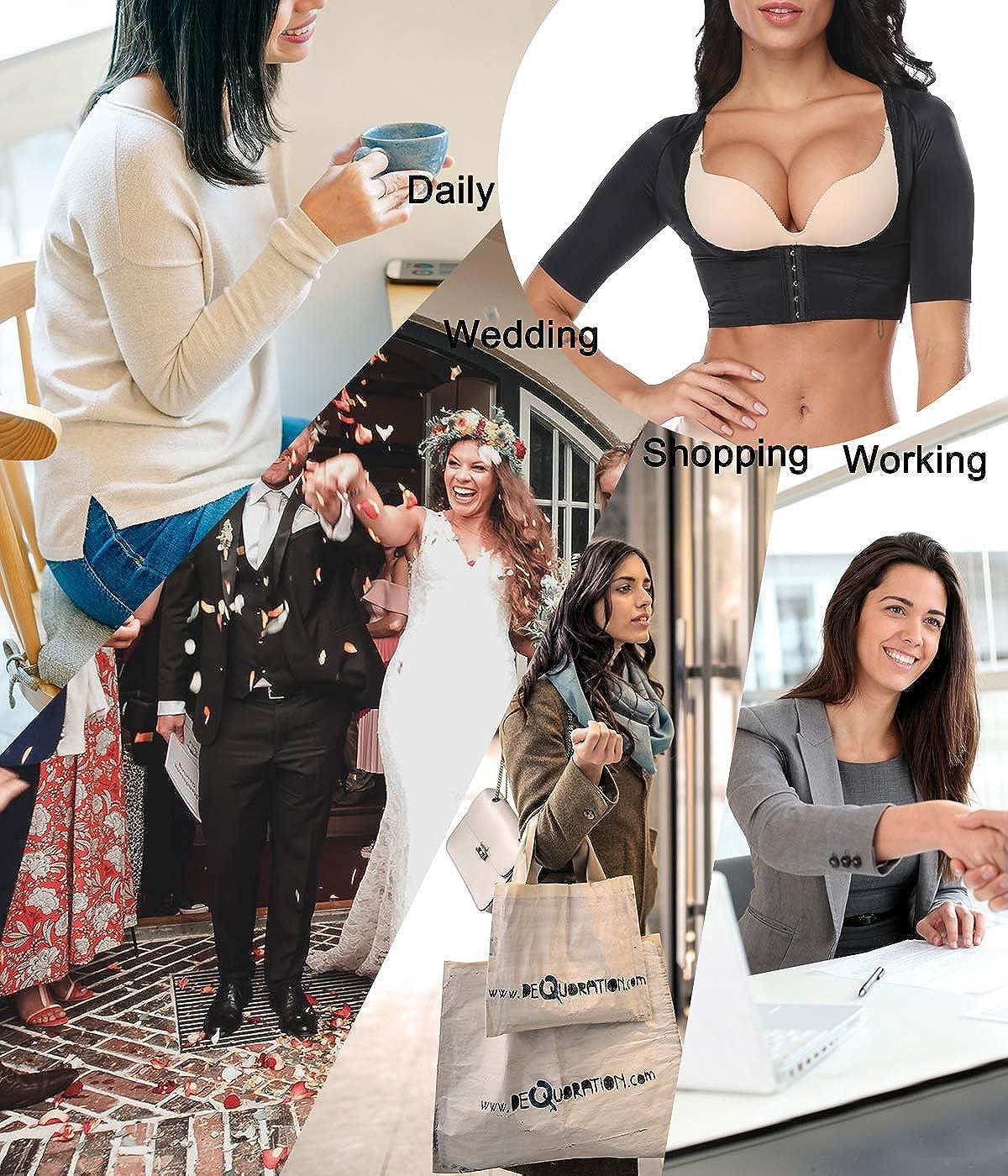 SLIMBELLE Womens Seamless Arm Shaper Slim Upper Sleeves Top Body Shaper Compression Vest Posture Corrector