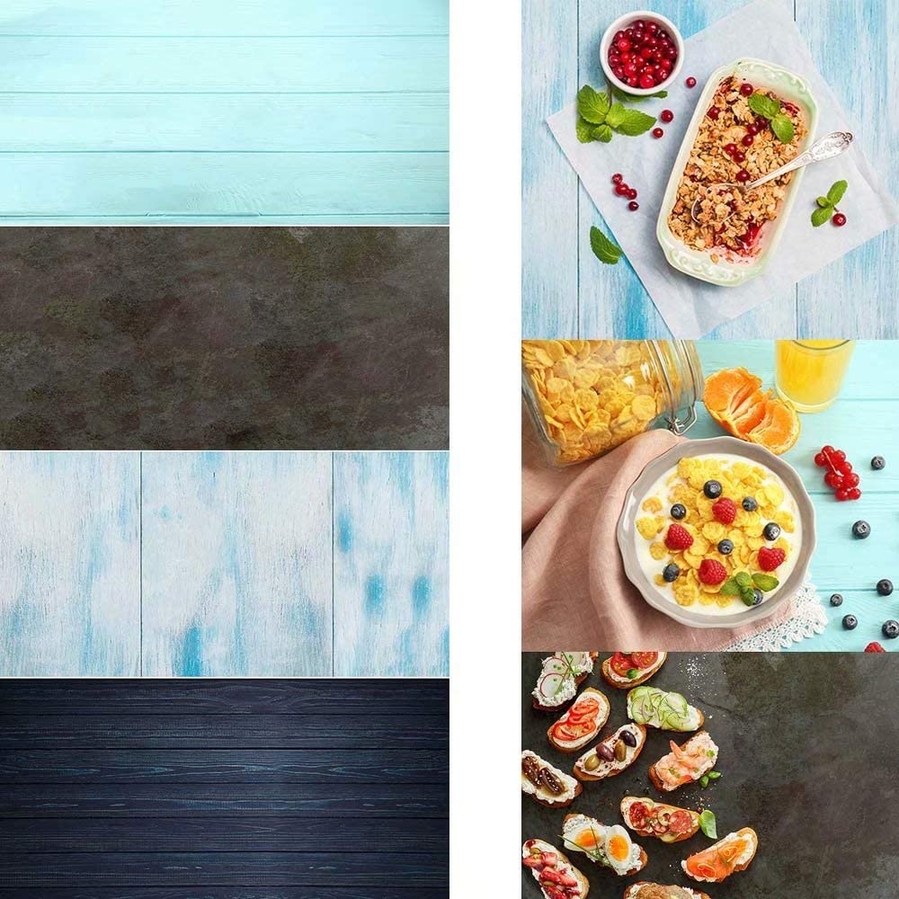 2 Pieces 4 Patterns Photography Background Vintage Co Blue Wood Grainy Background Surface Food Cosmetics Blogger Video Photo Shoots Rough Concrete Wall Camera Tabletop Flat Lay Small Postmark Backdrop