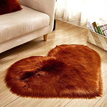 Wearefo Area Rugs Floor Mat Ultra Soft Thick Pads Faux Fur Wool Heart Shaped Carpet Fluffy Baby Play Mat for Kids Room Baby Nursery Decor Mats Non-Slip Mats Blanket for Living Room S, Gray