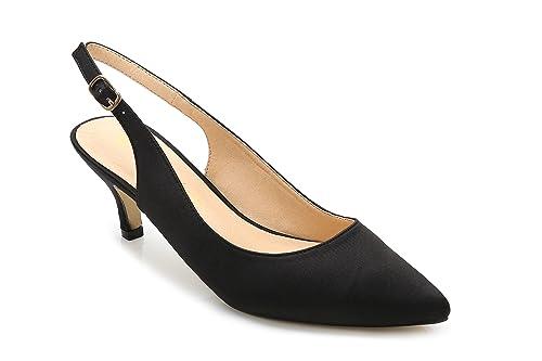 b483f0c56826 ComeShun Womens Shoes Classic Satin Kitten Heels Slingback Dress Pumps (6  US 37 EU
