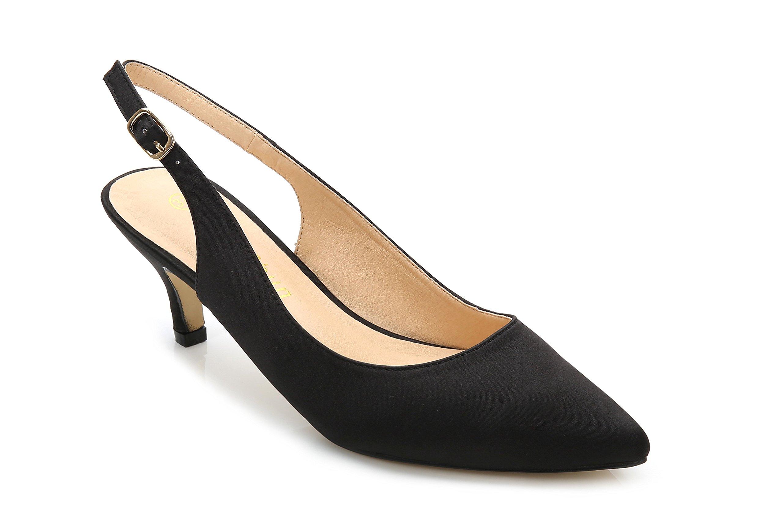 ComeShun Womens Shoes Classic Kitten Heels Slingback Dress Pumps (9 US/40 EU, Black)