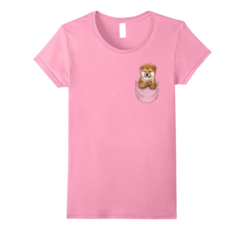 T-Shirt, Cute Baby Shiba Inu Puppy in Pocket, Japanese Dog