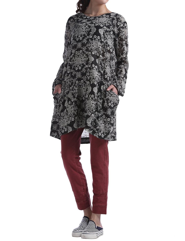 Huan Xun White Flower Print Black Linen Loose Midi Dress Shirts Top Autumn