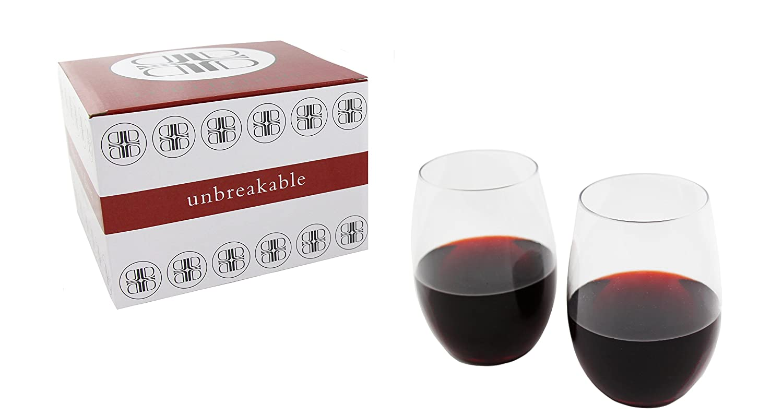 6f09fe102fa Amazon.com   Unbreakable Stemless Wine Glasses, TRITAN Plastic ...