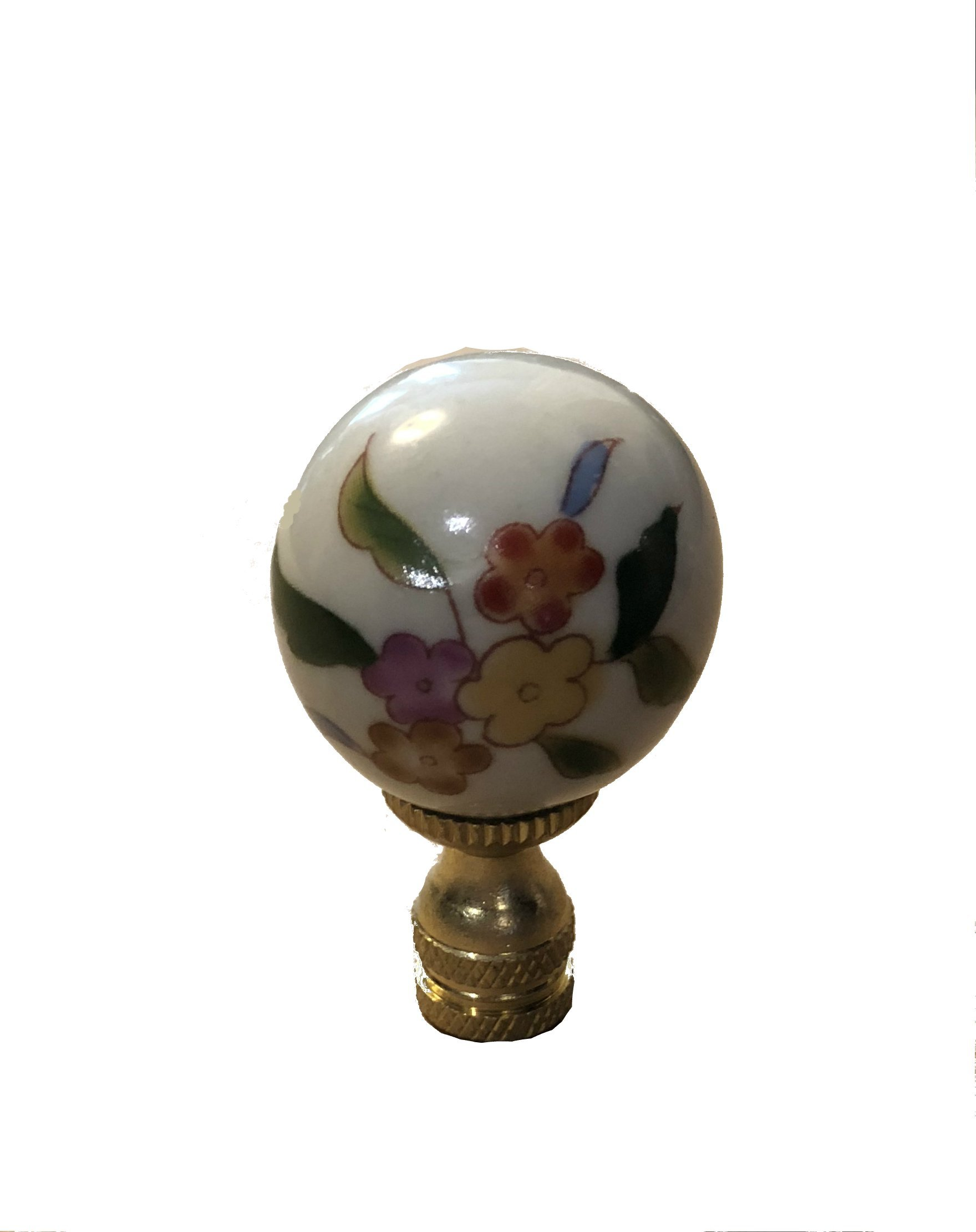 Colorful White Chinoiserie Finial Lamp Shade Topper Porcelain Asian Chinese Pansy Daisy Impatian Floral Leaf Motif Oriental Lamp