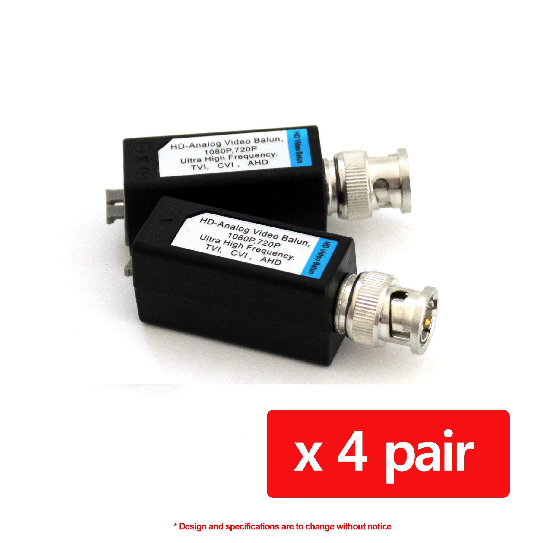 HDVD 4 Pairs Mini CCTV BNC Video Balun Transceiver Cable Push Button Terminal (4 Pairs)