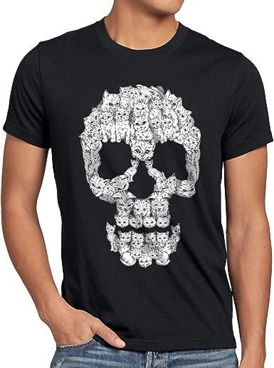 style3 Gato Calavera Camiseta para Hombre T-Shirt Skull Gata chavala: Amazon.es: Ropa y accesorios