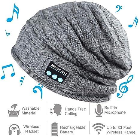 Powcan Bluetooth Cappello con Cuffie Stereo e Microfono Caldo Berretto  Cappello Maglia Musica Autunno e Inverno 4c4e6dc77a50