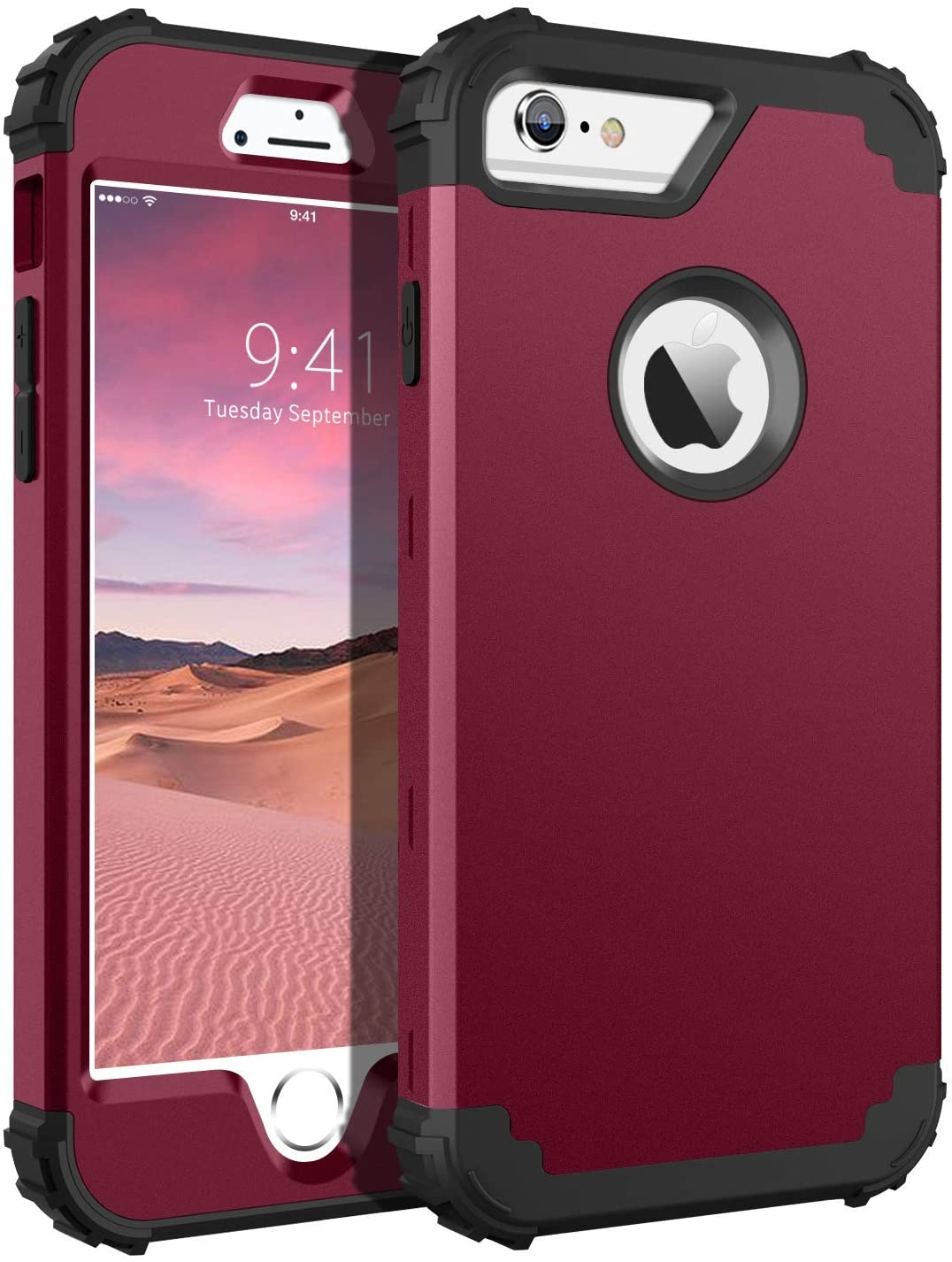iPhone 6S Plus Case, iPhone 6 Plus Case, BENTOBEN Heavy Duty Shockproof 3 in 1 Slim Hybrid Hard PC Soft Silicone Bumper Protective Phone Case Cover for iPhone 6S Plus/iPhone 6 Plus (5.5 Inch) Wine Red