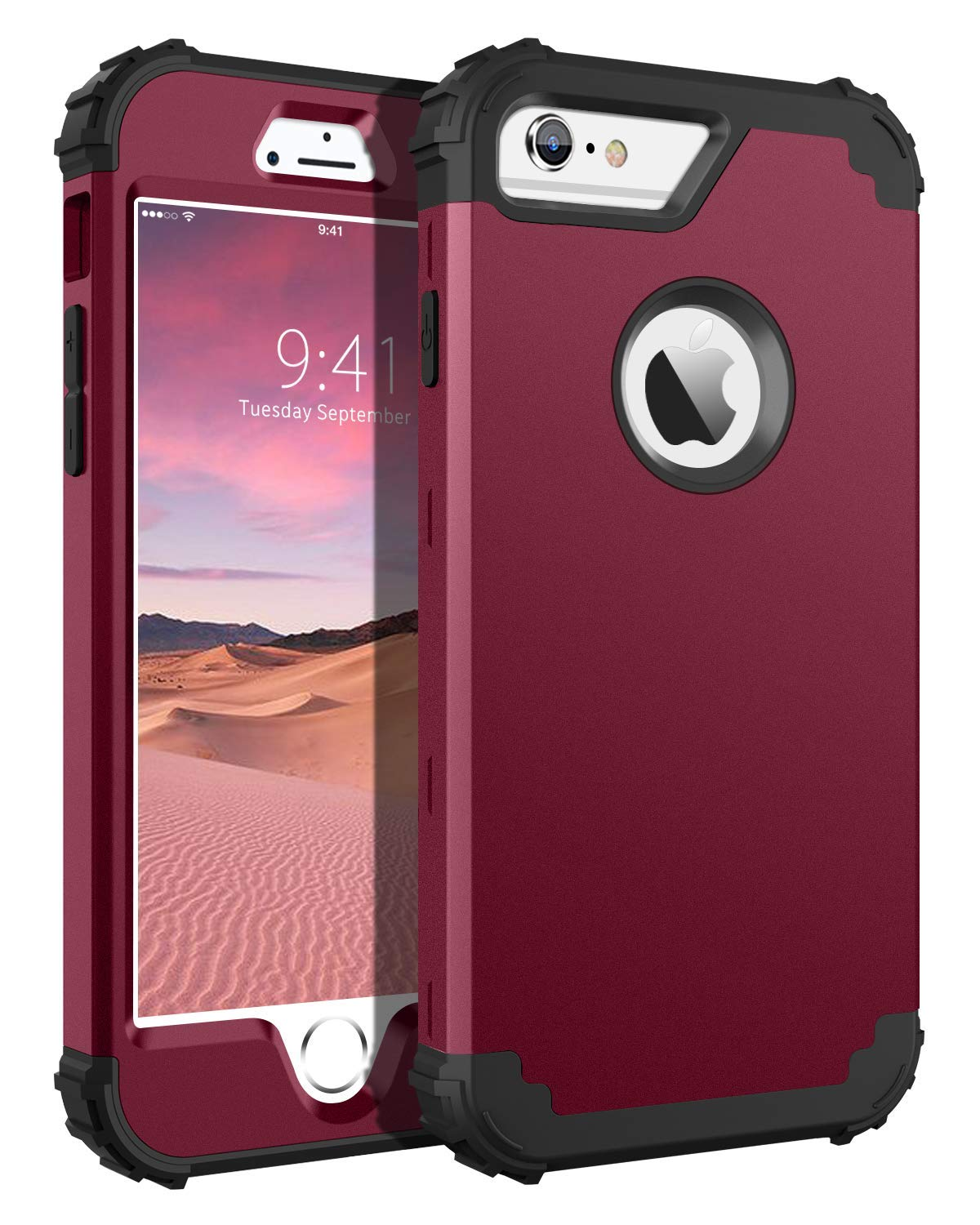 iPhone 6S Plus Case, iPhone 6 Plus Case, BENTOBEN Heavy Duty Shockproof 3 in 1 Slim Hybrid Hard PC Soft Silicone Bumper Protective Phone Case Cover ...