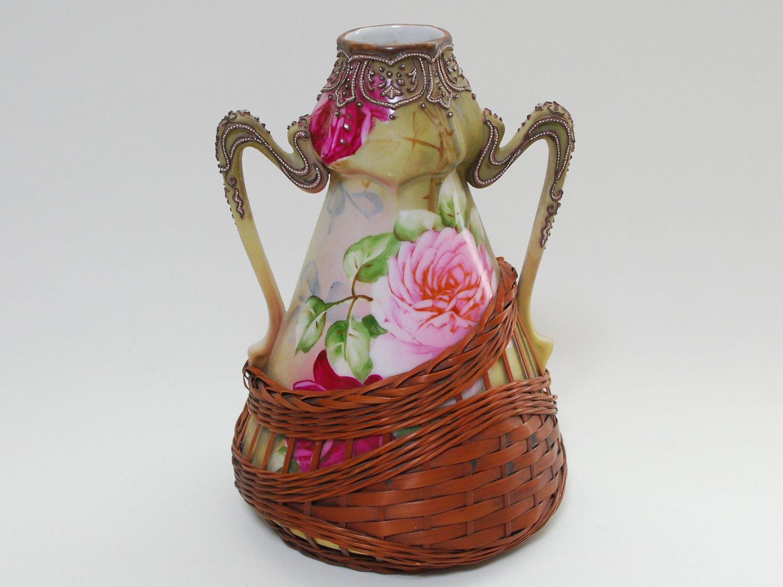 オールドノリタケ 薔薇画籠付花瓶 EN16-0040 B0736QJK52
