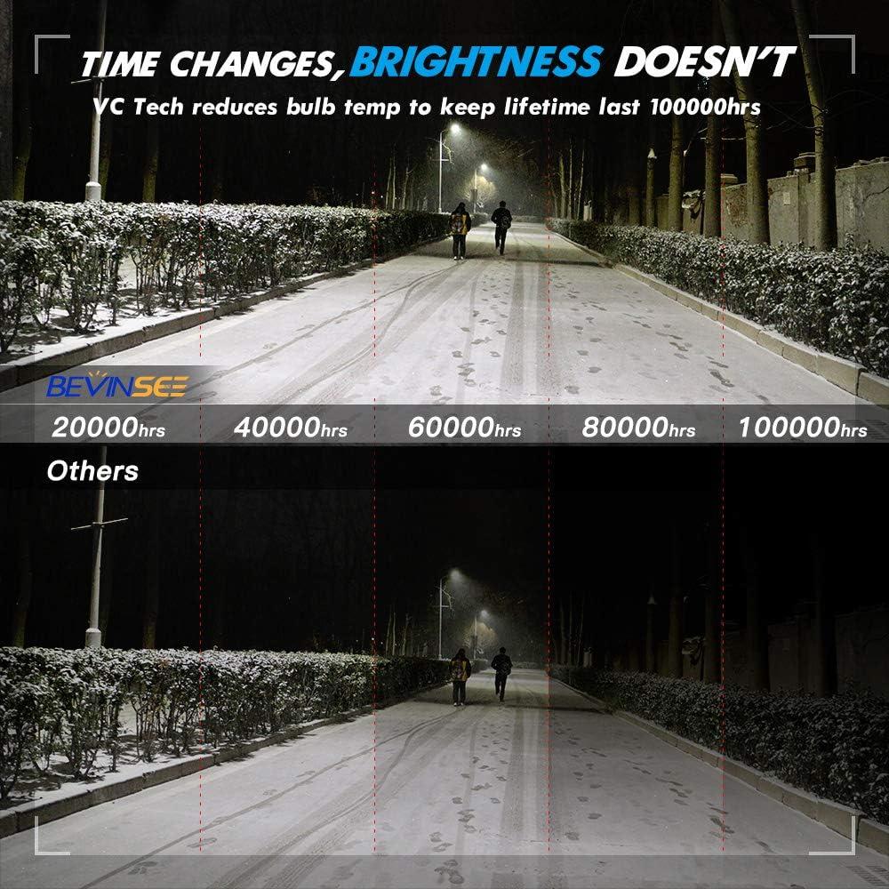 Bevinsee H4//9003 LED Headlight White 100W 15000LM Bulbs Kit-VC Cooling Tech,2pcs