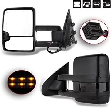ECCPP Tow Mirrors Towing Mirrors fit for 2014-2018 Chevy GMC 1500 2015-2019 Chevy GMC 2500 HD 3500 HD with Left Right Side Power Adjusted Heated Turn Signal Light with Black Housing