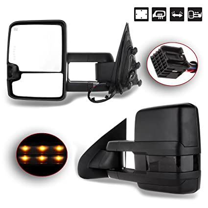 Amazon Com Scitoo For Chevy Gmc Towing Mirrors Black Rear View