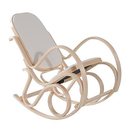 3cfbe05ab HomCom Silla Balancín Mecedora Tipo Sillón de Madera para Descanso o  Lactancia Estilo Vintage con Esponja
