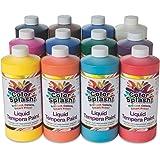 S&S Worldwide LT5 32 oz. Color Splash! Liquid Tempera Paint Assortment (Pack of 12)