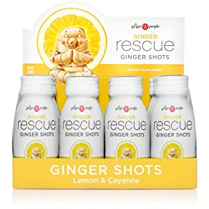 The Ginger People Ginger Rescue Lemon & Cayenne Ginger Shots, 2 Ounce, Pack of 12