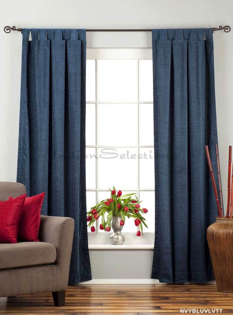 Red velvet window curtains - Amazon Com Navy Blue Tab Top Velvet Curtain Drape Panel 43w X 84l Piece Home Kitchen