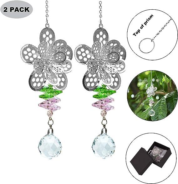 Crystalsuncatcher 3D Metal Owl Decor Window Pendant Elegant Chandelier Beads Suncatchers Sparkly Chakra Crystal Balls For Home,Pack 2